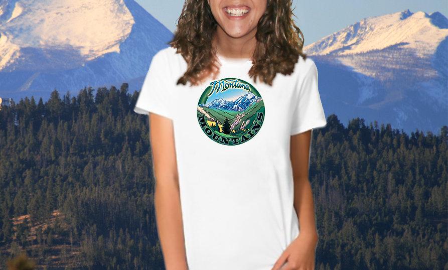 Montana Mountains T Shirt smaller design