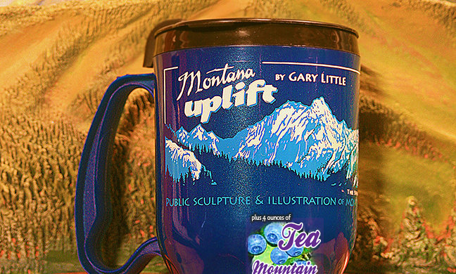 Montana Uplift Blue Thermal lightweight travel Mug with Mtn. Huckleberry Tea