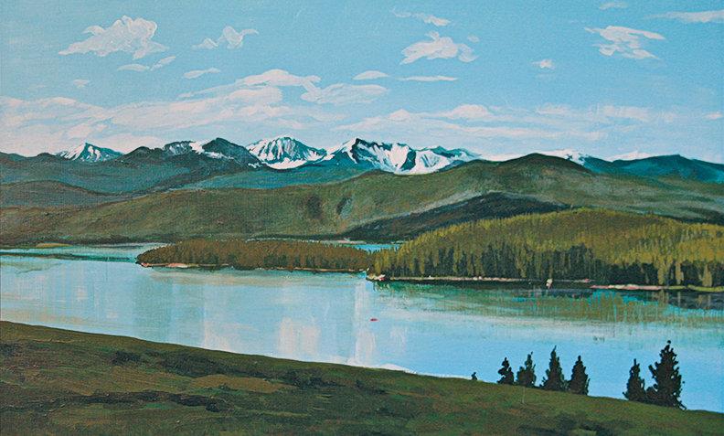 "Georgetown Lake & Anaconda Mountains    Montana Scenic Notecard    6.125"" x 4.5"""