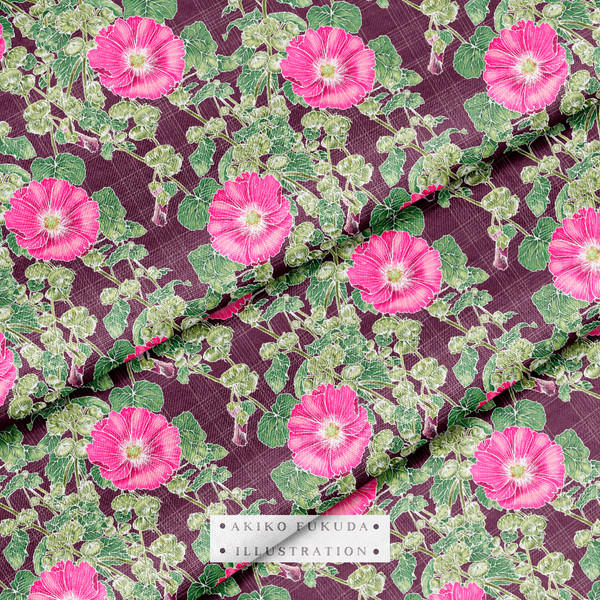 Alcea Roses on Grid