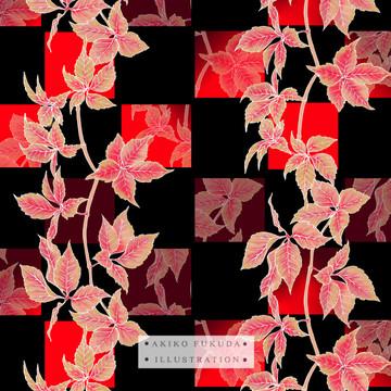 Autumn Red Vine Leaves