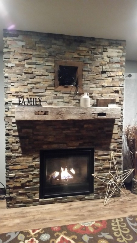 Repurposed Wood Beam Mantle