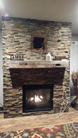 Repurposed Wood Beam Mantle