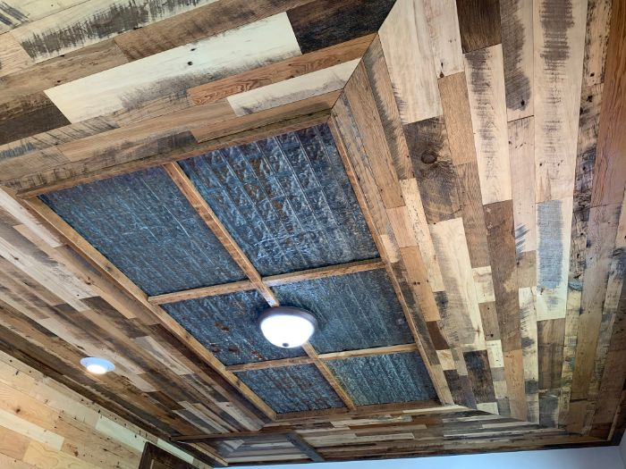 Brown and Grey Skip Planed Ceiling