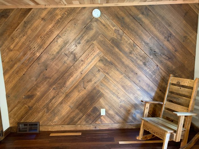 Herringbone Pattern Barn Wood Wall