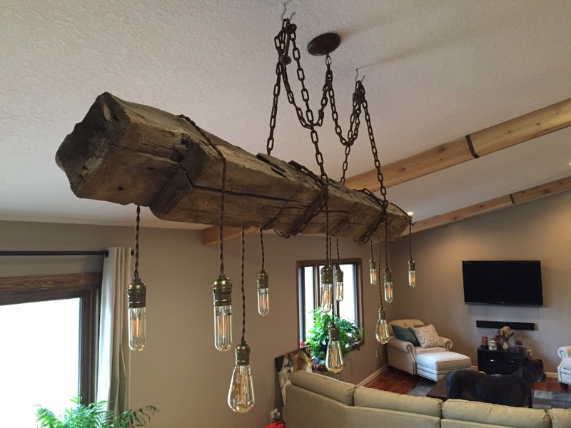 Repurposed Barn Beam Chandelier