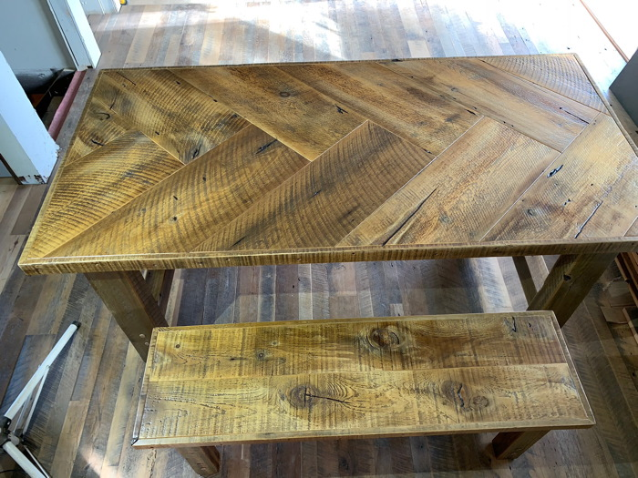 Reclaimed wood herringbone table