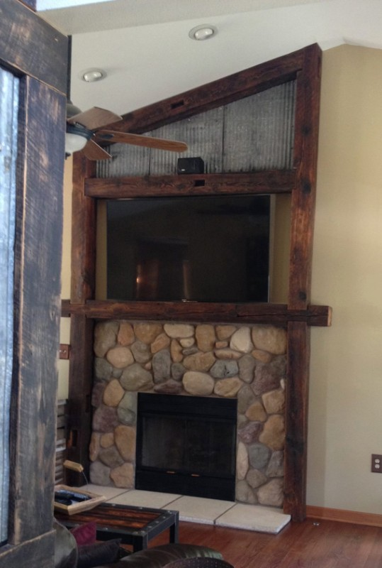Reclaimed Wood Barn Beam Mantle