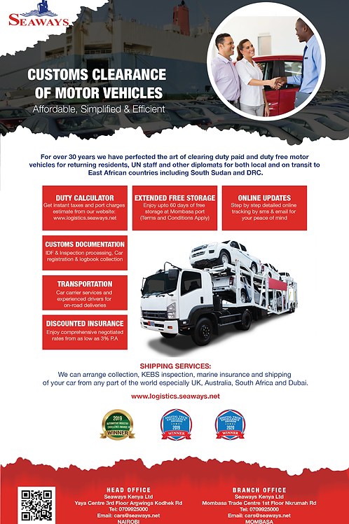 Customs clearance of motor vehicles