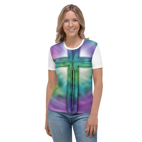 Faith Cross Tie Dye Colorful Women's T-shirt