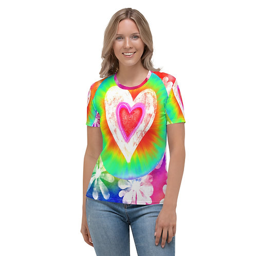 All Over Tie Dye Love Women's Colorful Heart T-shirt