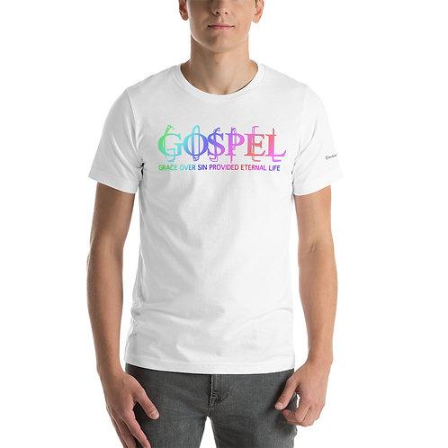 Men The Gospel Grace Over Sin Provided Eternal Life short sleeve t-shirt T-Shirt