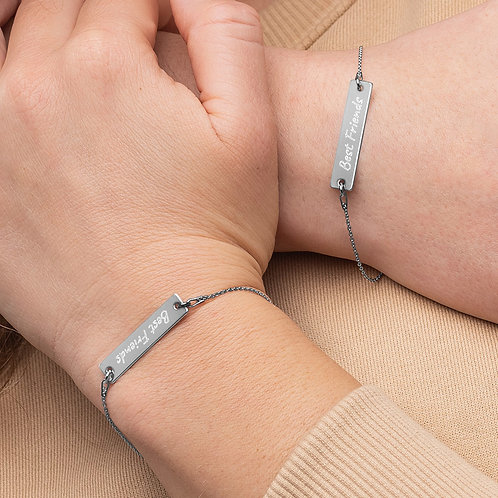 Best Friends For Life Matching Gift Engraved Silver Bar Chain Bracelet