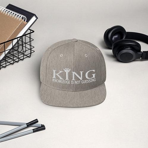 Men KING White Letters Snapback Hat