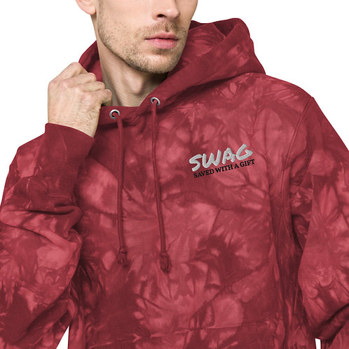 SWAG Saved With A Gift Cool Trendy Stylish Champion tie-dye hoodie