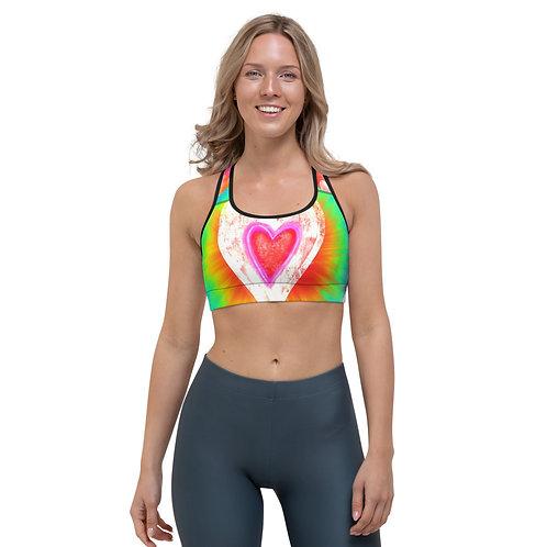 Women Cute Tie Dye Hearts Sports bra