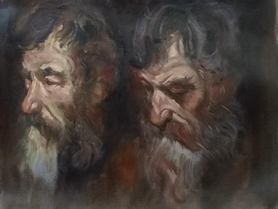 D'après VanDyck, étude têtes d'hommes