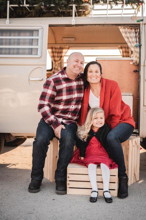 Hippie Van Christmas Family Photos at Dana Point