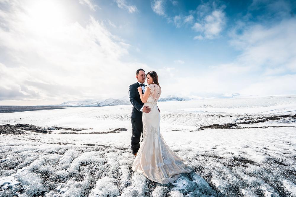 Solheimajokull Glacier Wedding Engagement Photo