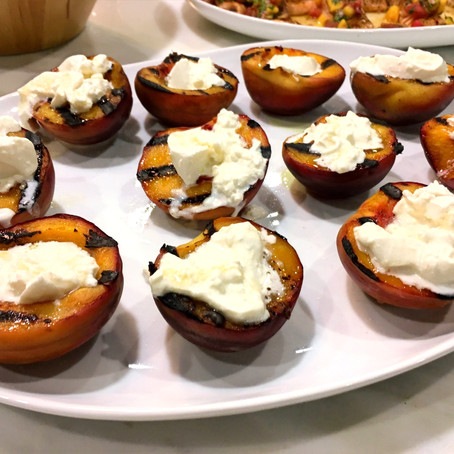 Grilled Peaches with Burrata + Honey