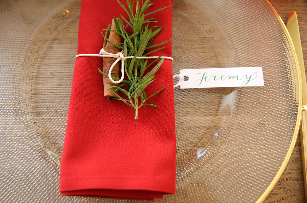 christmas place setting, event planners, bluebird creative