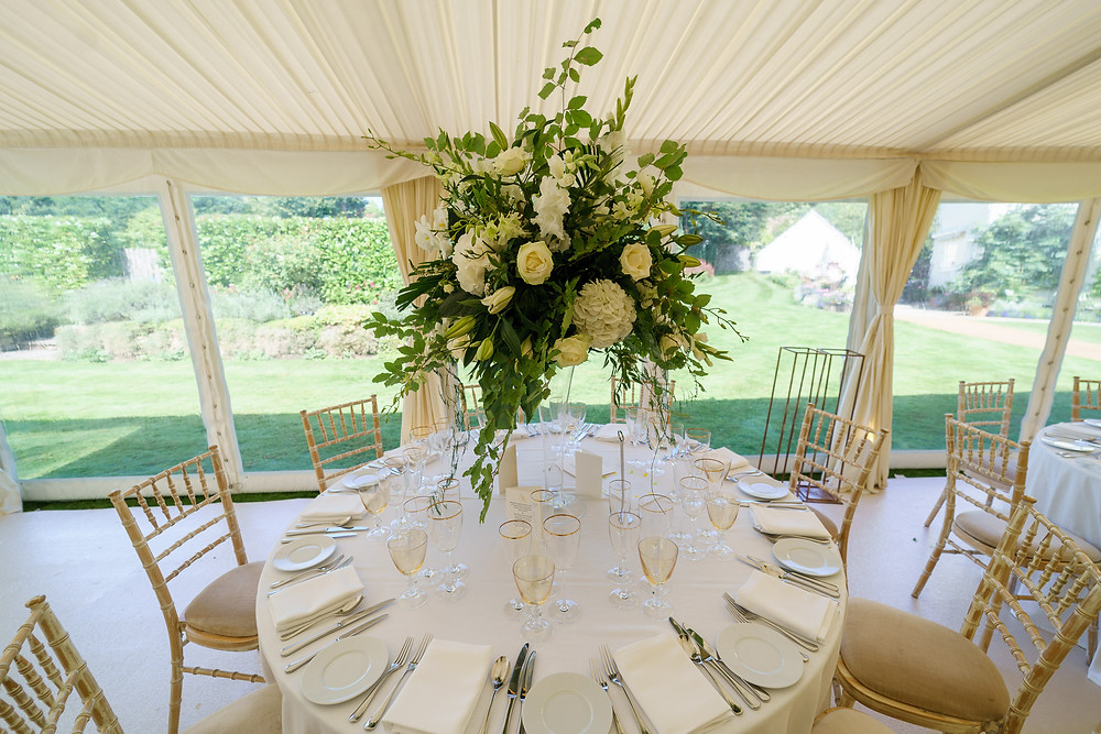 Table Arrangements | Marquee Wedding