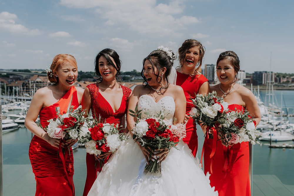 Brides and Bridesmaids | wedding day | red and white