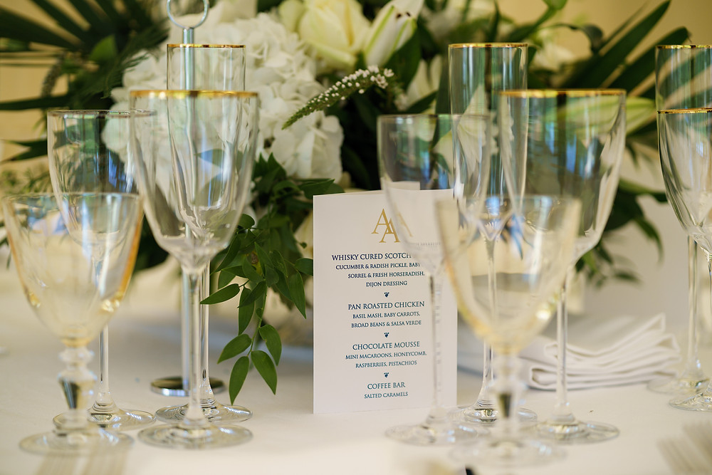 Wedding Tableware | Gold trimmed glasses | Surrey Wedding