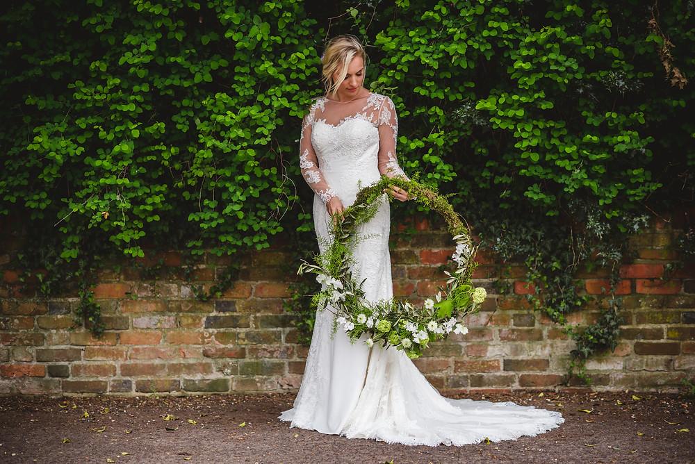Floral hoop wedding shoot