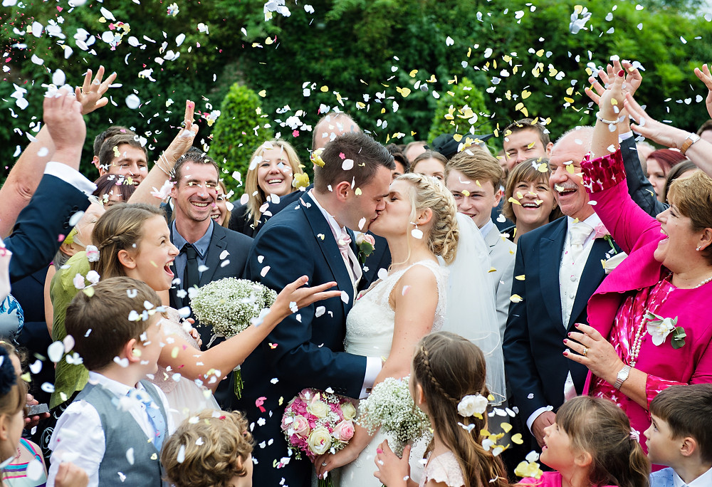 confetti wedding shot