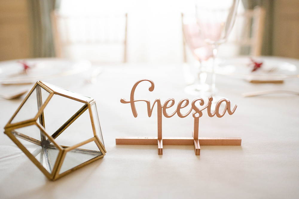 Copper | Table name | Surrey wedding | Wotton House Wedding