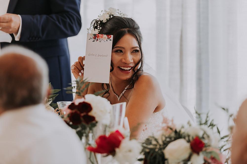Brides reaction to grooms speech