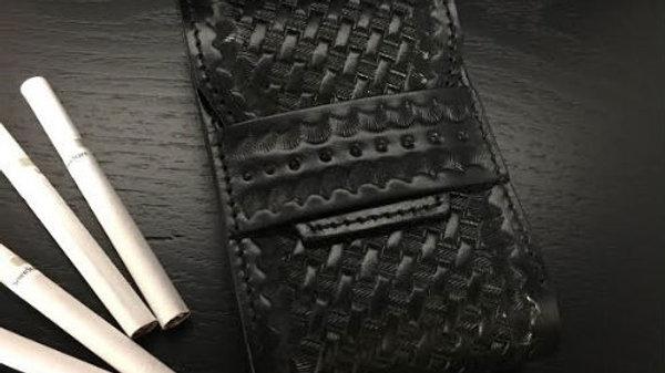 ルガトショルダーを使用したバスケット柄本革製レザーシガレットケース