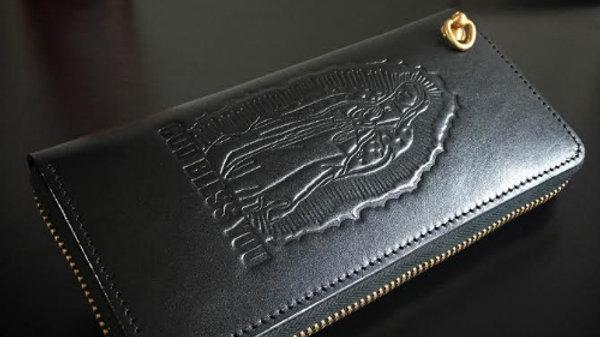 ルガトショルダーを使用した聖母マリアデザイン本革製レザー長財布