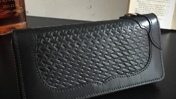 ルガトショルダーを使用したバスケット柄本革製レザーラウンド長財布