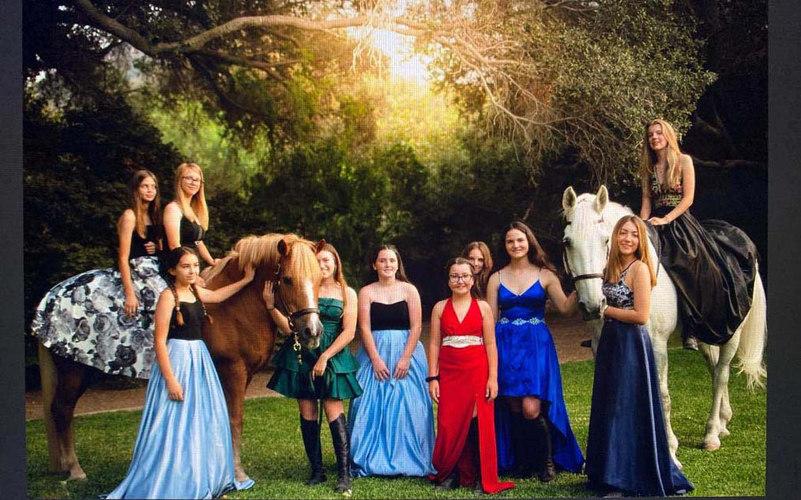 Foxfield girls in prom dresses