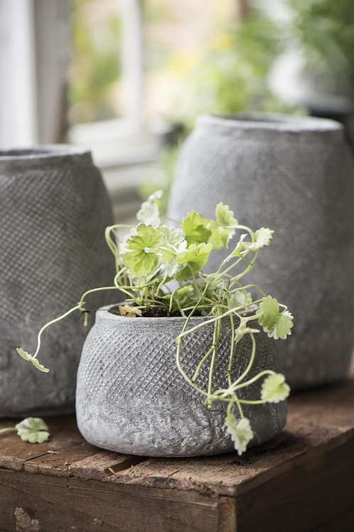 Small Grey HYGGE pot with grid pattern