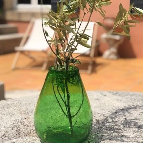 Sustainable green glass vase