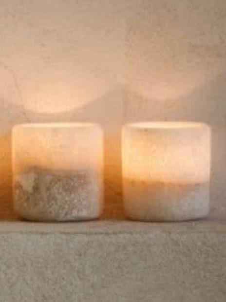 Set of 2 Salt Rock Candleholders