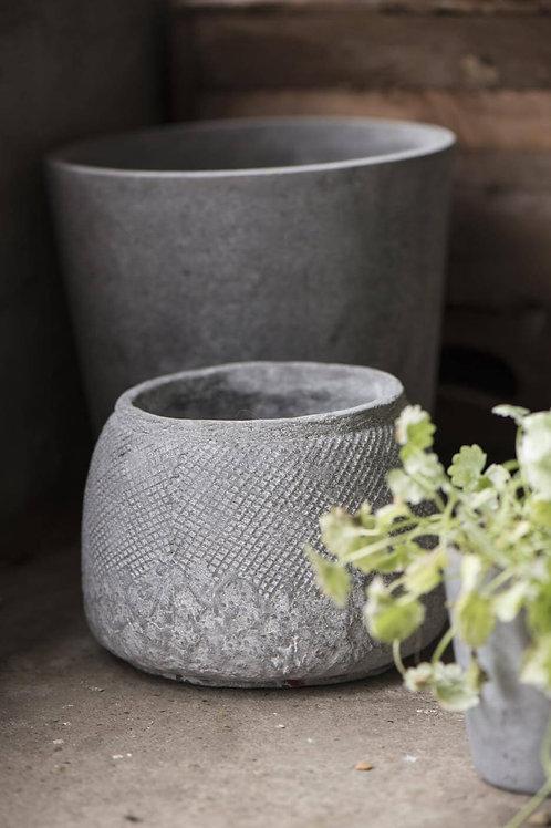 Grey HYGGE pot with grid pattern