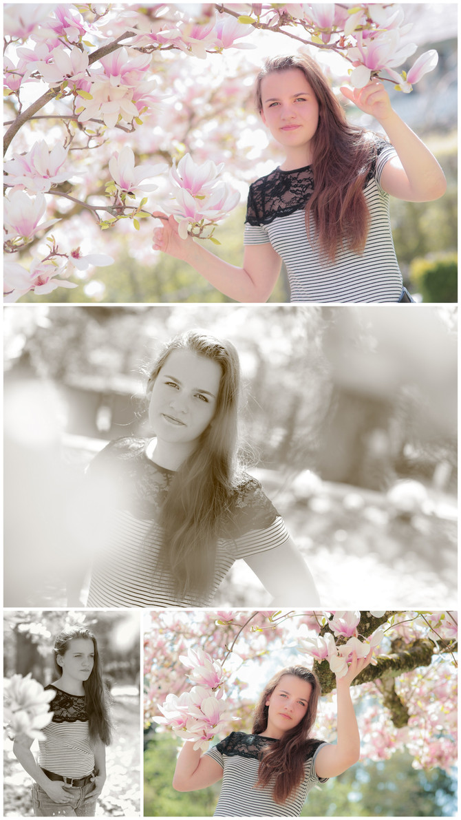 Frühlings-Shooting mit Magnolienbaum in Worb