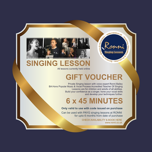 GIFT VOUCHER 6 X 45 Minute Singing Lessons