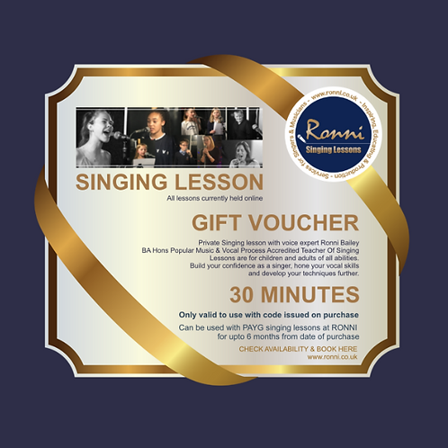 GIFT VOUCHER 30 Minute Singing Lessons