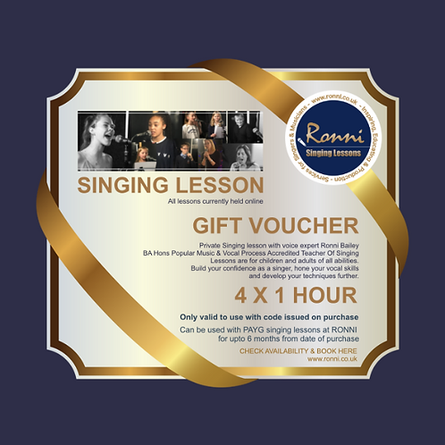 GIFT VOUCHER 4 X 1 Hour Singing Lessons