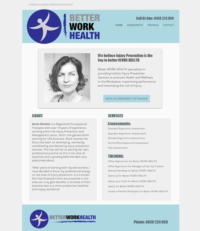 Captura de Pantalla del Sitio Wix de Better Work
