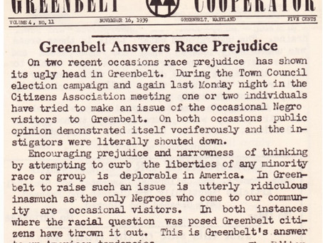 Black History Month #21 - Newspaper Documents Discussion of Racism in Greenbelt in 1939