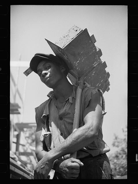 African American hod carrier in Greenbelt 1936. photo: Library of Congress