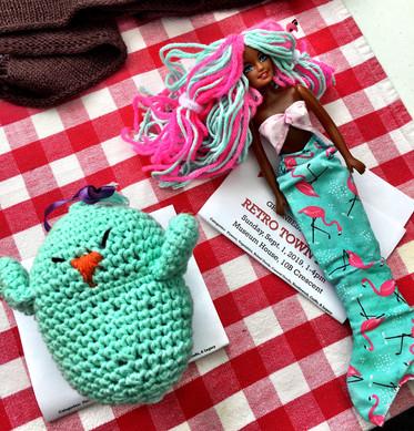 crochet bird and doll clothes by Kim Keys