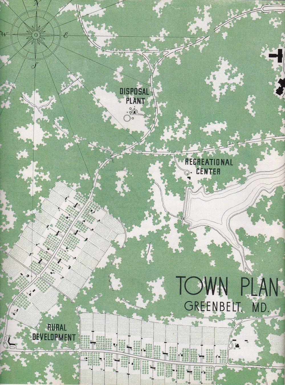 Town plan of Greenbelt with Rossville development