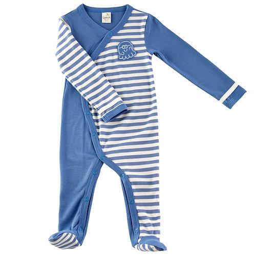 Macacão Pijama com Pé Listrado